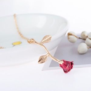 ⚡️2 for $15 Delicate Gold & Red Rose Necklace